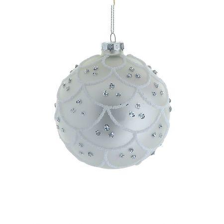 Χριστουγεννιάτικη μπάλα γυάλινη Ασημί-Λευκό 10cm