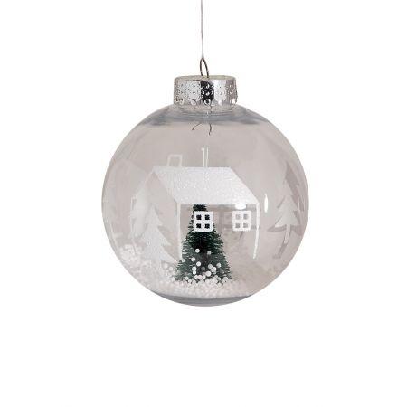 Χριστουγεννιάτικη μπάλα πλαστική με έλατο Διάφανη 10cm