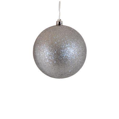 Χριστουγεννιάτικη μπάλα πλαστική Ασημί 8cm