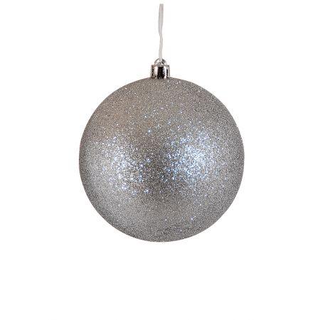 Χριστουγεννιάτικη μπάλα πλαστική Ασημί 10cm