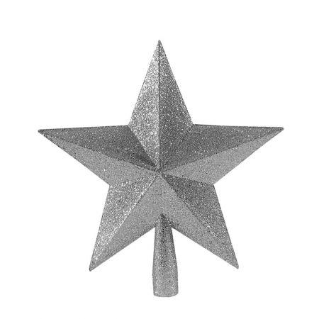 Κορυφή Χριστουγεννιάτικου δέντρου αστέρι Ασημί 23cm