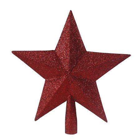 Κορυφή Χριστουγεννιάτικου δέντρου αστέρι Κόκκινο 23cm