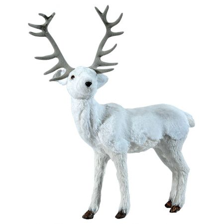 Διακοσμητικός τάρανδος Λευκός 45x24x57cm