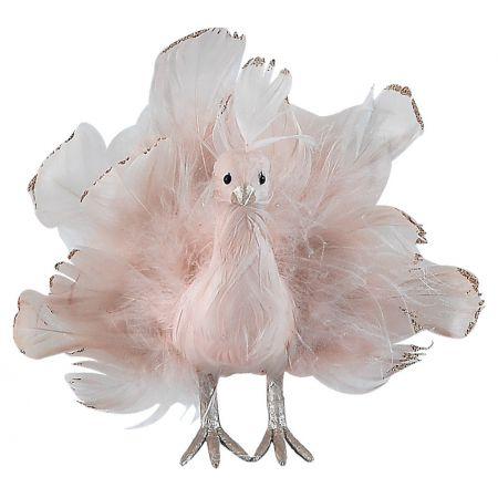 Διακοσμητικό παγώνι με ανοιγμένα φτερά Ροζ - Χάλκινο 16x6x15cm
