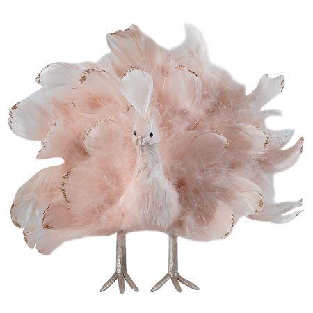 Διακοσμητικό παγώνι με ανοιγμένα φτερά Ροζ - Χάλκινο 29x11x27cm