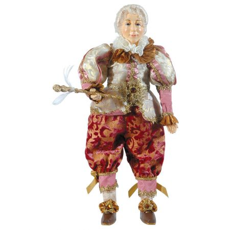 Χριστουγεννιάτικος διακοσμητικός κούκλος Ροζ - Χάλκινος 22x10x50cm