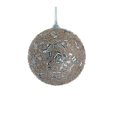 Χριστουγεννιάτικη μπάλα με glitter Σαμπανί 10cm