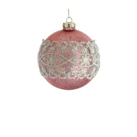 Χριστουγεννιάτικη μπάλα γυάλινη με δαντέλα Ροζ 8cm