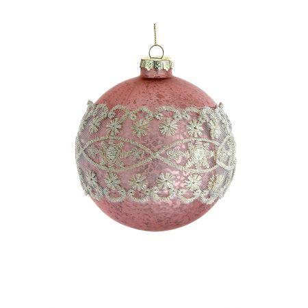 Χριστουγεννιάτικη μπάλα γυάλινη με δαντέλα Ροζ 10cm