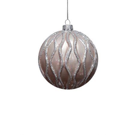 Χριστουγεννιάτικη μπάλα γυάλινη Καφέ 8cm