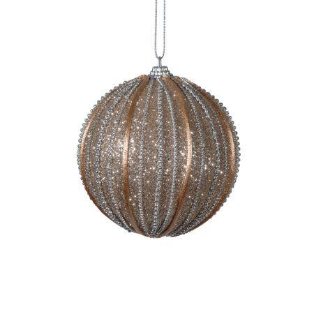 Χριστουγεννιάτικη μπάλα με glitter και χάντρες Σαμπανί 10cm