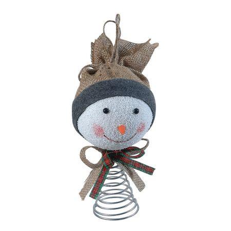 Κορυφή Χριστουγεννιάτικου δέντρου - χιονάνθρωπος με σκουφί 24cm