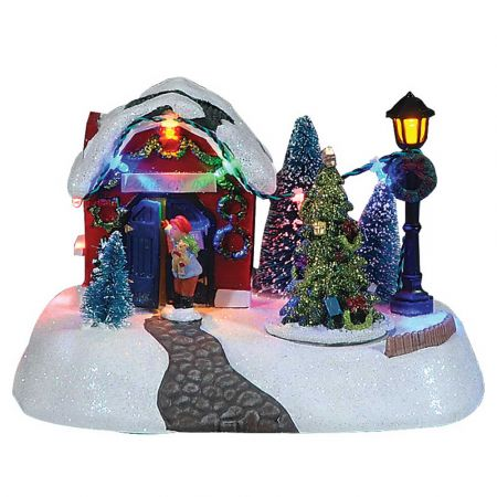 Optical χιονισμένο χωριό με ήχο και κίνηση 18x13x13cm