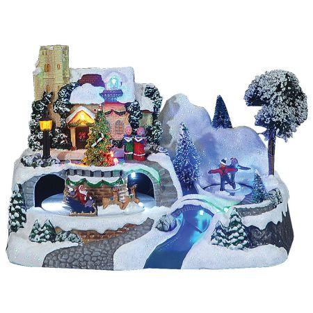 Optical χιονισμένο χωριό με ήχο και κίνηση 24x15x47cm