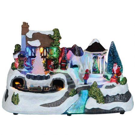 Optical χιονισμένο χωριό με ήχο και κίνηση 19x19x31cm