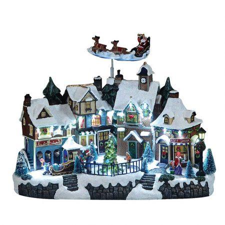 Optical χιονισμένο χωριό με ήχο και κίνηση 38x20x30cm