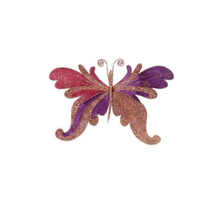 Χριστουγεννιάτικη πεταλούδα βελούδινη με glitter Ροζ - Μωβ (μικρή) 48x9x28cm