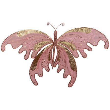 Χριστουγεννιάτικη πεταλούδα με glitter Ροζ - Χρυσό (μεγάλη) 120x14x70cm