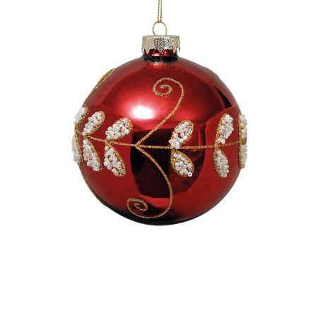 Χριστουγεννιάτικη μπάλα γυάλινη Κόκκινη 10cm