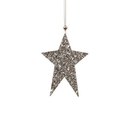 Ξύλινο κρεμαστό στολίδι αστέρι Ασημί 8x12cm