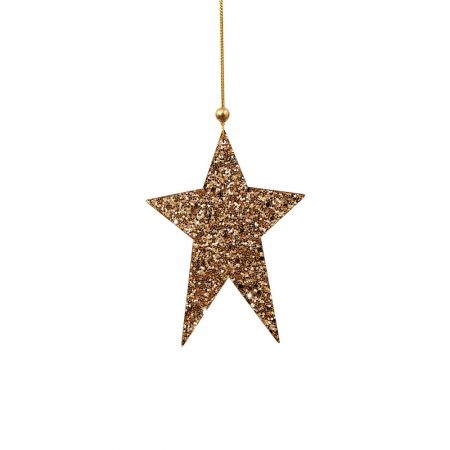 Ξύλινο κρεμαστό στολίδι αστέρι Χρυσό 8x12cm