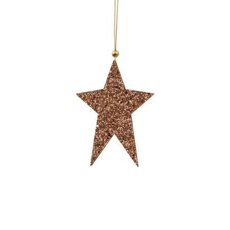 Ξύλινο κρεμαστό στολίδι αστέρι Σαμπανί 8x12cm