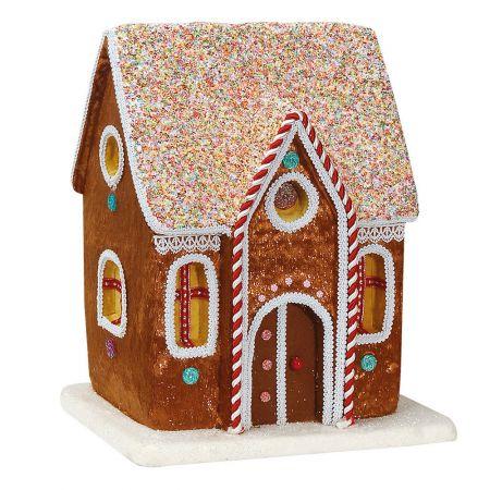 Χριστουγεννιάτικο βελούδινο Σπιτάκι - Ζαχαρωτό Μπισκότο Καφέ (μεσαίο) 33x23x37cm