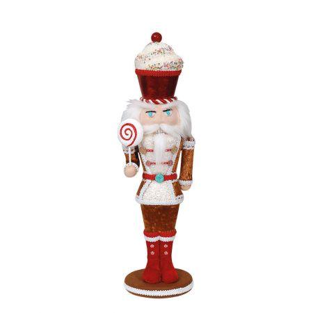 Χριστουγεννιάτικο βελούδινος καρυοθραύστης - Ζαχαρωτό Μπισκότο Καφέ (μικρό) 15x13x48cm
