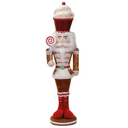Χριστουγεννιάτικο βελούδινος καρυοθραύστης - Ζαχαρωτό Μπισκότο Καφέ (μεγάλο) 17x15x68cm
