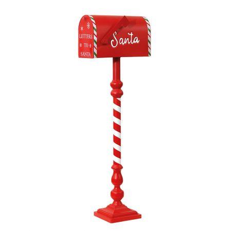 Διακοσμητικό Χριστουγεννιάτικομεταλλικό γραμματοκιβώτιο - Letters to Santa με βάση και πορτάκι που ανοίγει.