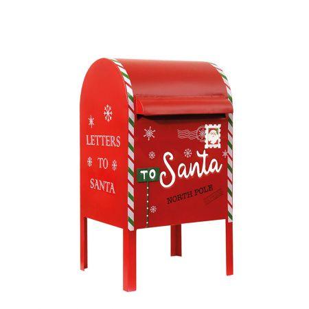 Χριστουγεννιάτικο μεταλλικό γραμματοκιβώτιο - Letters to Santa Κόκκινο (μεσαίο) 28x26x52cm
