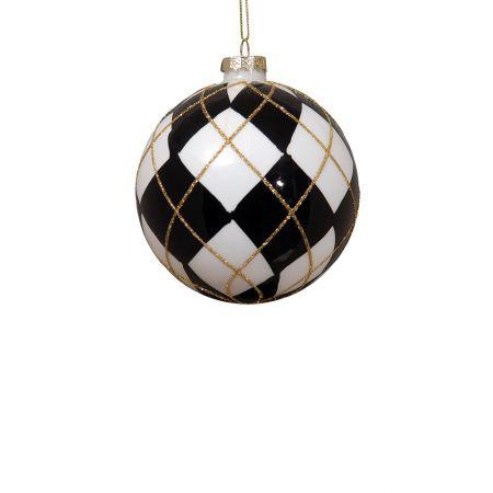 Χριστουγεννιάτικη μπάλα γυάλινη Μαύρη-Λευκή 8cm