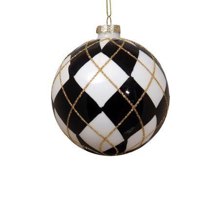 Χριστουγεννιάτικη μπάλα γυάλινη Μαύρη-Λευκή 10cm