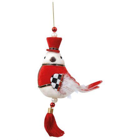 Χριστουγεννιάτικο στολίδι πουλάκι βελούδινο Κόκκινο 15x24cm