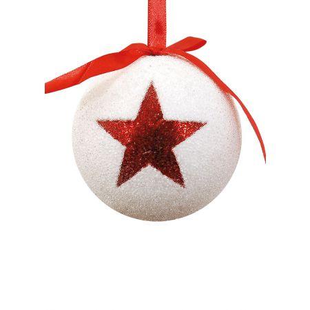 Χριστουγεννιάτικη μπάλα με αστέρι Λευκή-Κόκκινη 10cm