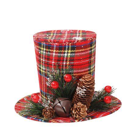 Χριστουγεννιάτικο στολίδι καπέλο καρό Κόκκινο (μικρό) 12x18cm