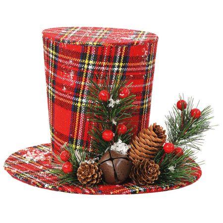 Χριστουγεννιάτικο στολίδι καπέλο καρό Κόκκινο (μεγάλο) 16x22cm