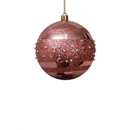 Χριστουγεννιάτικη μπάλα πλαστική Ροζ 8cm