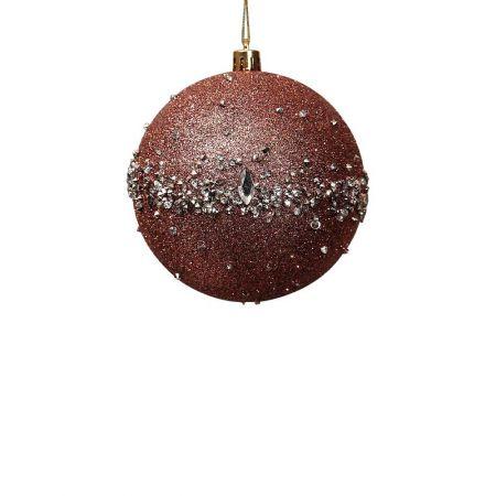 Χριστουγεννιάτικη μπάλα με glitter Ροζ 8cm