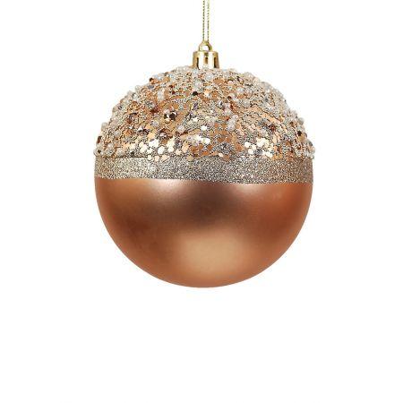 Χριστουγεννιάτικη μπάλα πλαστική Χάλκινη 10cm