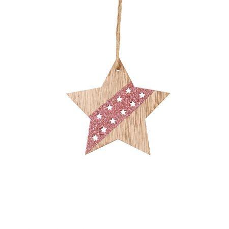 Ξύλινο κρεμαστό στολίδι αστέρι Ροζ (μικρό) 8x8cm