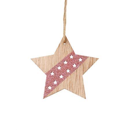 Ξύλινο κρεμαστό στολίδι αστέρι Ροζ (μεγάλο) 11x11cm