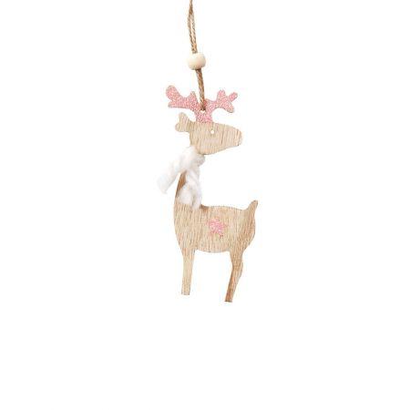 Ξύλινο χριστουγεννιάτικο στολίδι ταρανδάκι Ροζ (μικρό) 5x12cm