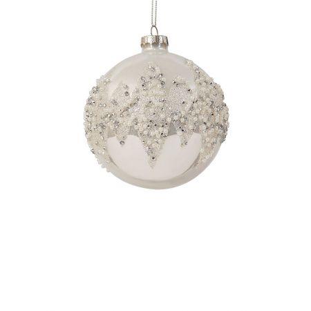 Χριστουγεννιάτικη μπάλα γυάλινη Ασημί 8cm