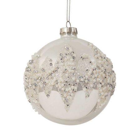 Χριστουγεννιάτικη μπάλα Ασημί 10cm
