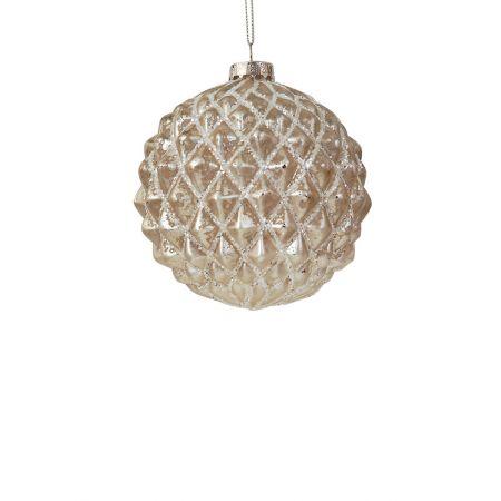 Χριστουγεννιάτικη μπάλα γυάλινη ανάγλυφη Σαμπανί 8cm