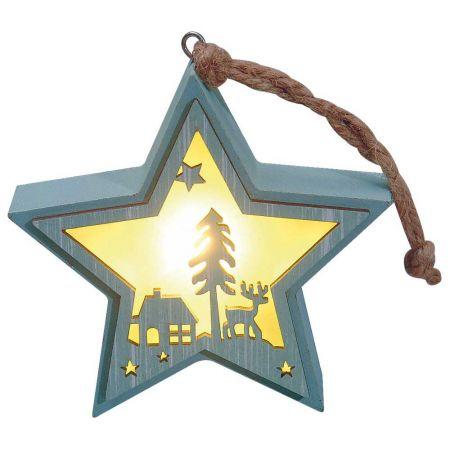 Φωτιζόμενο ξύλινο αστέρι με Χριστουγεννιάτικη παράσταση Πράσινο 12x12cm