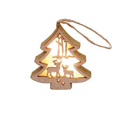 Φωτιζόμενο ξύλινο δεντράκι με Χριστουγεννιάτικη παράσταση Χρυσό 11x12cm