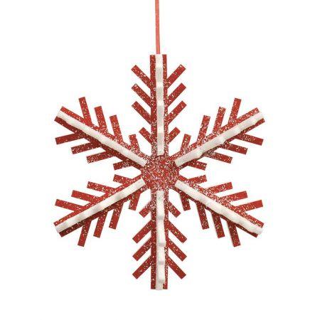 Κρεμαστή χιονονιφάδα κόκκινο - λευκό, 40cm