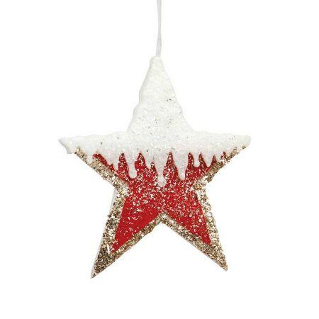 Κρεμαστό αστέρι με glitter κόκκινο - χρυσό - λευκό, 20cm
